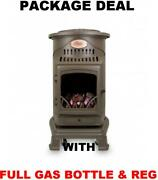 New Brown Provence Calor Portable Mobile Heater Complete Full Gas Bottle And Reg