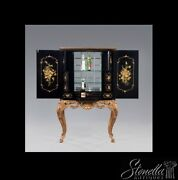 L43210e Black Paint Decorated Chinosorie Decorated Bar Liquor Cabinet New