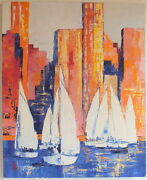 Hst Huile Sur Toile New York Wall Street Eric Bourse French Painting