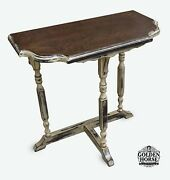 Antique Demilune Shabby Chic Mahogany Side End Accent Table