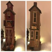 Vintage Lot Of 2 Collectibles Christmas Village Wooden Houses Antiques Looks