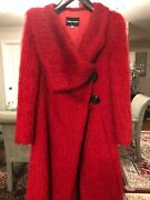 Gorgeous Armani Perfect Red Alpaca Coat Good Length Size 40 Perfect Condition