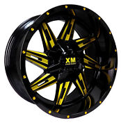 4 Four 20and039and039 Xtreme Mudder Xm-321 20x10-6 5lug Off Road Wheel Black Yellow