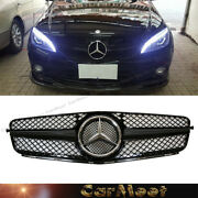 For Benz 08-14 W204 C-sedan Sl Tune Style Front Trim Grille Ch Shiny Black Color
