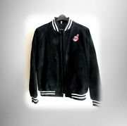 Cleeland Indians Chief Wahoo Mlb Jacket - Suede Leather Free Ship