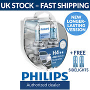 Philips Whitevision Ultra H4 Car Headlight Bulbs Twin Pack New 12342whvsm