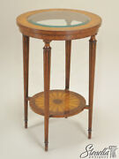 L36734 Maitland Smith Round Mahogany Glass Top Occasional Table 3030-969 New