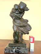 Amazing 1930 Italian Bronze Sculpture Young Woman With Baby Signed Passani