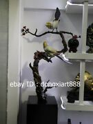114 Cm Chinese Art Deco Pure Bronze Lucky Pied Magpie Plum Blossom Sculpture