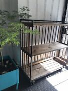 Antique 1900s Factory Cart Industrial Shelving Iron Wood