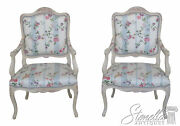 46115ec Pair French Scalamandre Upholstered Open Arm Chairs New