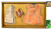 1930and039s Chinese Silk Embroidery Child Robe Clothes Hat Shoes Serpentine Plaque