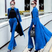 Women Slim Suede Trench Coat Jacket Pants Suit Trend High-waisted Flared Trouser