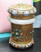 Chinese Silver Cloisonne Enamel Jade And Stones Canister Caddy Jar Box
