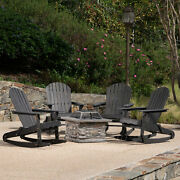 Benson Outdoor 5 Piece Adirondack Rocking Chairs And Fire Pit Set