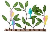 Handmade And Hand Painted Colorful Metal Menorah Bird And Leaves From Colombia