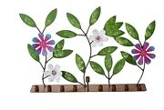 Handmade And Hand Painted Colorful Metal Menorah Flowers And Leaves From Colombia