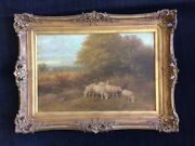 George Riecke Signed Oil Painting - Pastoral Landscape With Grazing Sheep