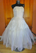 Vintage 1950s 50s Lace Tulle Corset Strapless Royal Wedding Formal Gown Dress