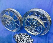 Harley Heritage Deluxe Chrome 9 Spoke Wheels Package Includes Pulley And Rotors