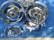 Harley 2 Knuckle Rims And Rotors 2 Calipers And 2 Sliders + 2 Cow Bell Non Abs