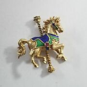 1979 Igor Carl Faberge 14k Yellow Gold Carousel Horse Pin Brooch Rb-fmr8