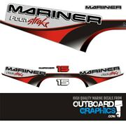 Mariner 15hp Four Stroke Outboard Engine Decals/sticker Kit