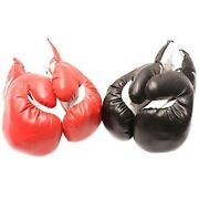 2 Pairs Kids 10 Oz Boxing Gloves Youth Practice Training Faux Leather Red Black