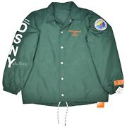 Nwt Heron Preston Menand039s Green Dsny Uniform Sample Coachand039s Jacket M Ds Authentic
