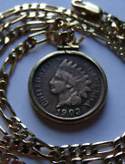 Chiefs Head War Bonnet Indian Penny Pendant Heavy Gold Filled Setting And Chain