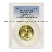 2009 20 Ultra High Relief Double Eagle Pcgs Ms70pl Proof Like Gold Uhr Coin