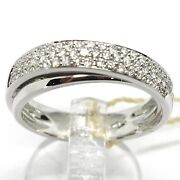 Solid 18k White Gold Band Ring, 3 Diamonds Rows Ct 0.41, Crossed Binary