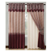 Single 1 Burgundy Double Layer Window Curtain Set With Valance 90 Long Panel