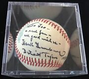 Hank Greenberg Long Inscription Autographed Signed Oal Baseball Psa/dna Grade 9