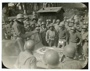 Wwii Signal Corps Photo Us 3rd Army General Patton Addresses Troops Germany 1945