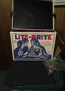 Vintage 1967 Hasbro Lite Brite Tested Works Pegs Picture Sheets Original Box