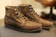 Bally Zeni Brown Suede Snow Boots Fur Lined Swiss Rare Discontinued Size 11 D