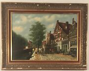 Italian City Scene W/ Multiple Figures And Brick Paved Road. Signed H. T. Topman