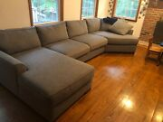 Modern Large Linen Fabric Sectional Sofa L-shape Couch With Left Chaise Grey