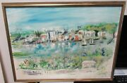 Alfred Birdsey Bermuda Sail Boats Scene Old Original Oil On Canvas Painting
