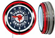 Pontiac Service Distressed Sign 19 Double Neon Clock Red Neon Man Cave Garage