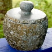 Natural River Stone Canister Storage Container Jar Hand Carved Rock Kitchenware