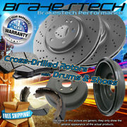 Front Drilled Rotors And Pads And Rear Drums And Shoes For 2008-2012 Ford Escape