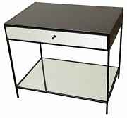 30 L Nightstand Steel Frame Glass Mirror Front Drawer And Shelf Steel Frame