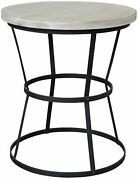26 Dia. Set Of Two Taliah Side Table Reclaimed Hardwood Top Caged Steel Base