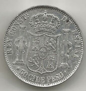 Philippines Alfonso Xii 50 Cents Peso 1880 Manila @very Nice@