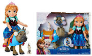 Disney's Frozen 14 Toddler Anna Doll And Sven + Olaf Figure Gift Play Set Kid Toy