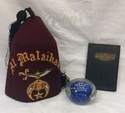 Lot Of 3- Vintage Masonic Items Hat Book And Paperweight - Masons
