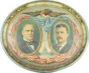 1900 Scarce 16 Oval Mckinley-roosevelt Jugate Campaign Tin Tray Vg+/exc