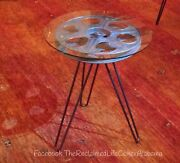 Movie Reel Home Theater Movie Reel Table Custom Hairpin Legs Without Glass